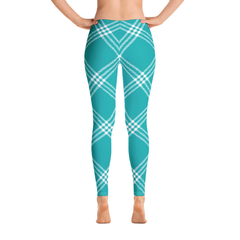 Torquoise Plaid Leggings for Women online at Mynkoo.com