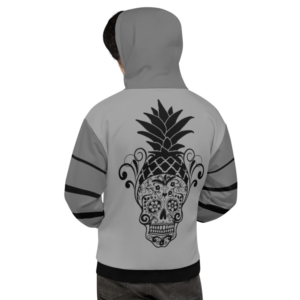 Black and Gray Sugar Skull Unisex Hoodie