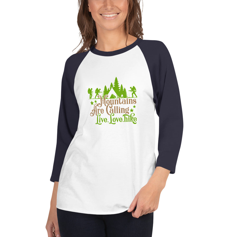 Mountains are calling 3/4 sleeve raglan shirt women