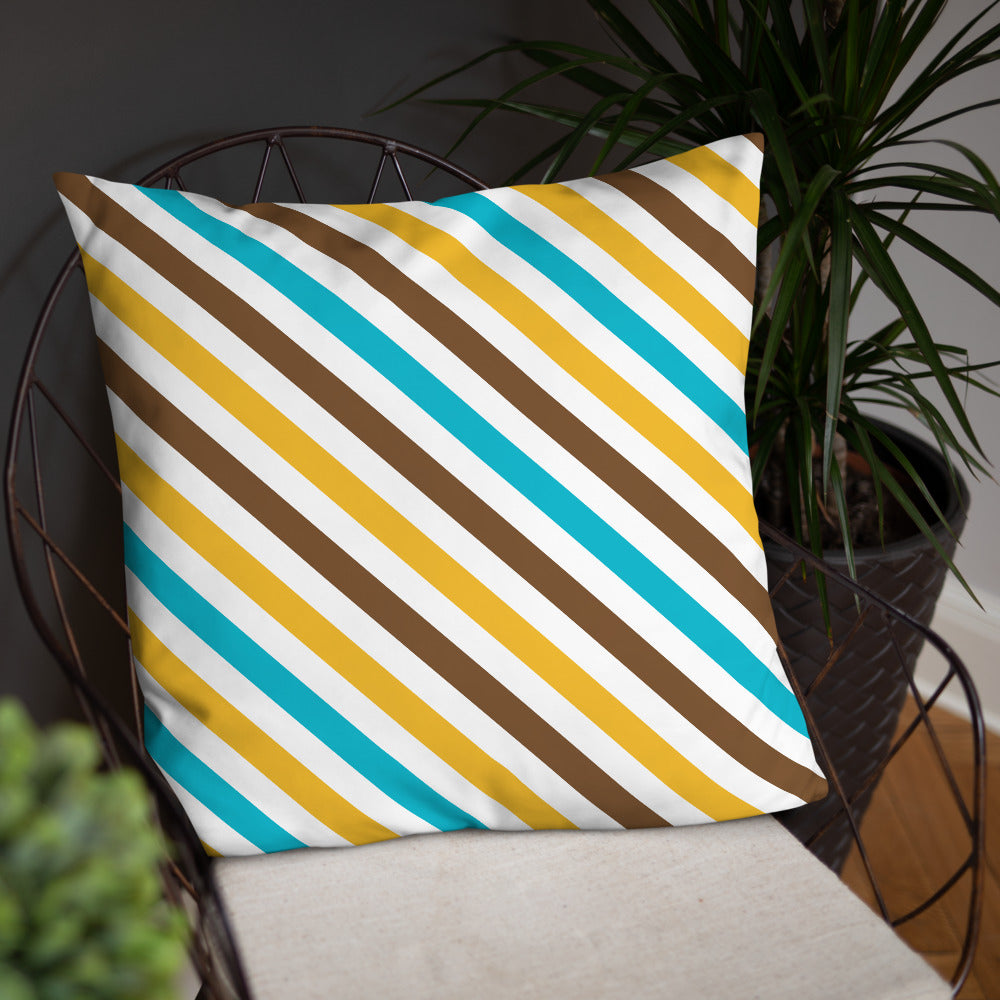 Brown Yellow Striped Throw Pillows