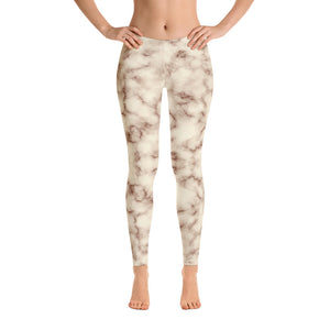 Brown and white Marble Leggings Womens