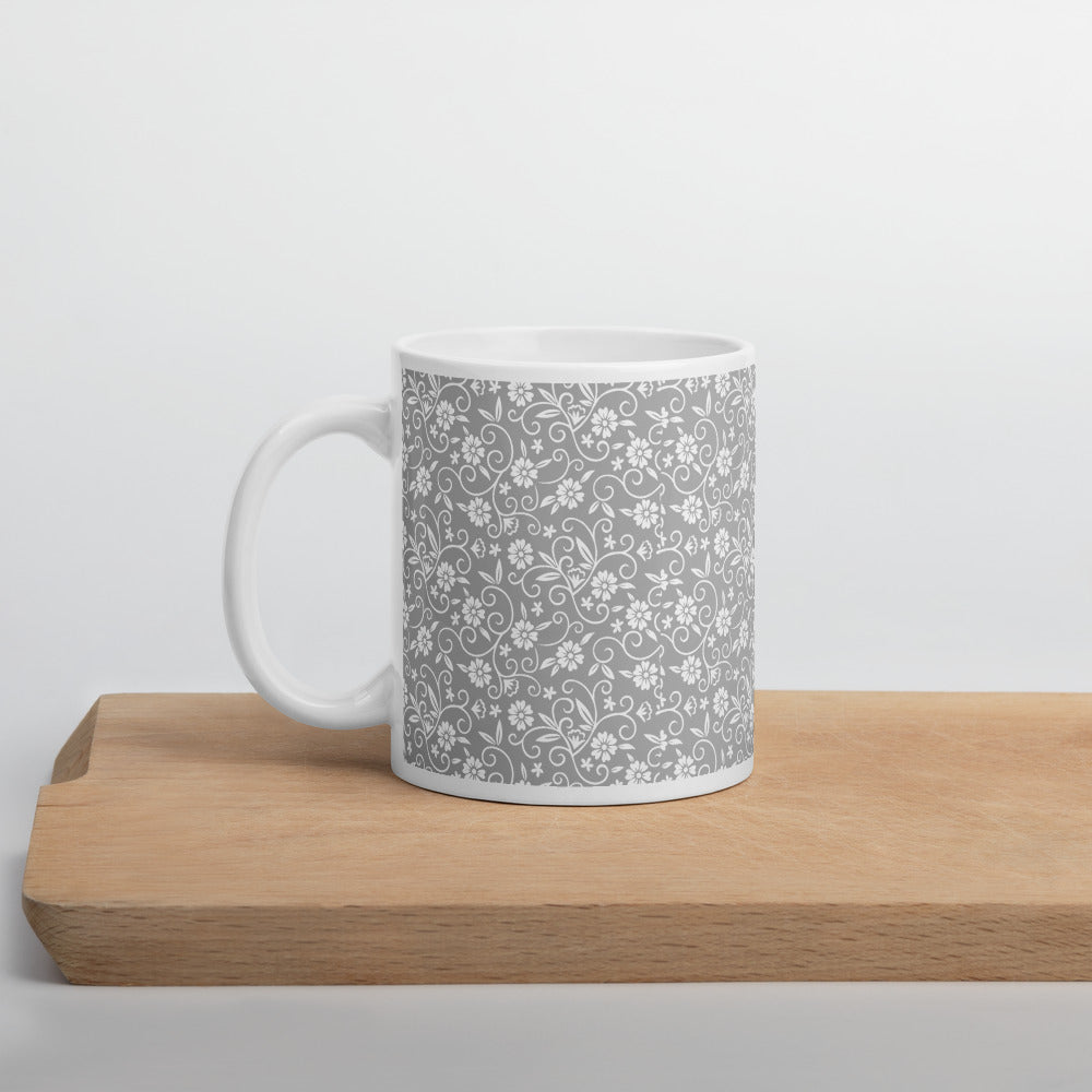 White Coffee Mug with Gray Floral Print