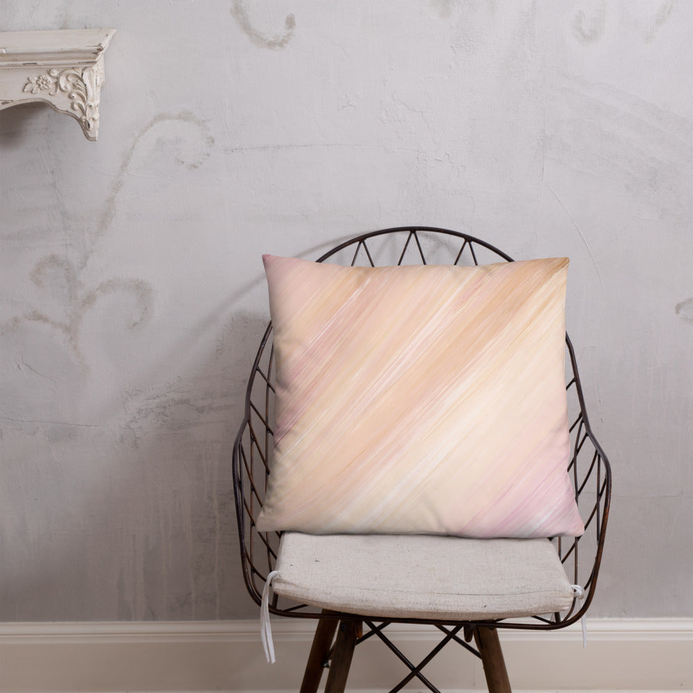 Pink Peach and Cream Marble Throw Pillow