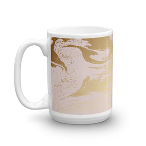 Rose Gold and Coral Pink Abstract Marble Coffee Mug
