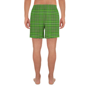 Dark Green Plaid Men's Athletic Long Shorts