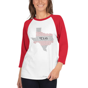 Texas Typo 3/4 Sleeve Raglan Shirt for Women