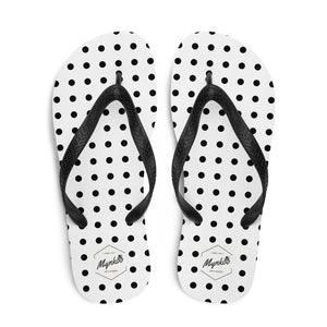 White Flip-Flops with Black Dots for Men and Women