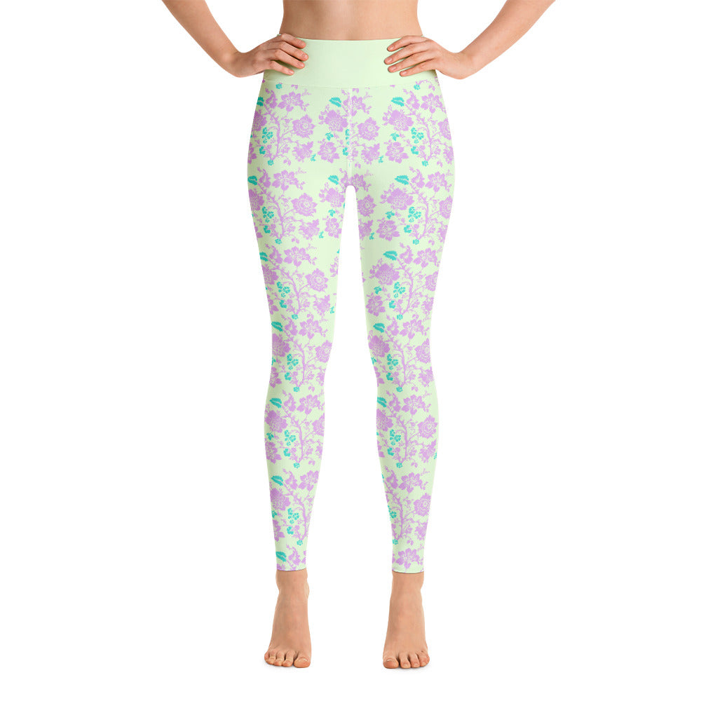 Apple Green Purple Floral Yoga Leggings