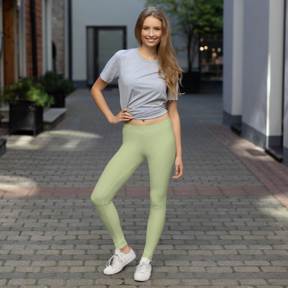 Girl Wearing Mint Green Leggings for Womens