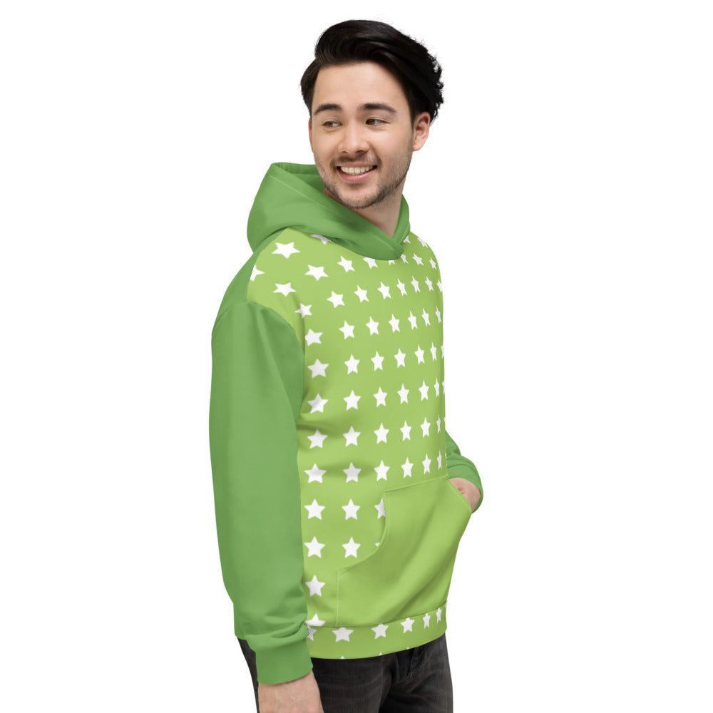 Green and White Star Unisex Hoodie