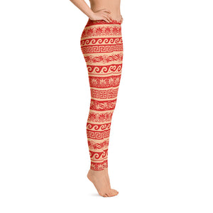 Nude and Red Floral Leggings