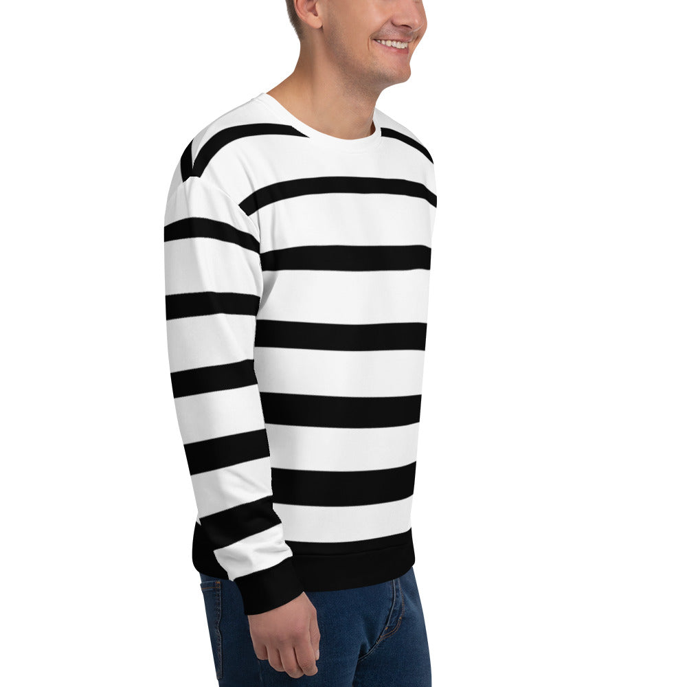 Black and White Striped Sweatshirt for Men