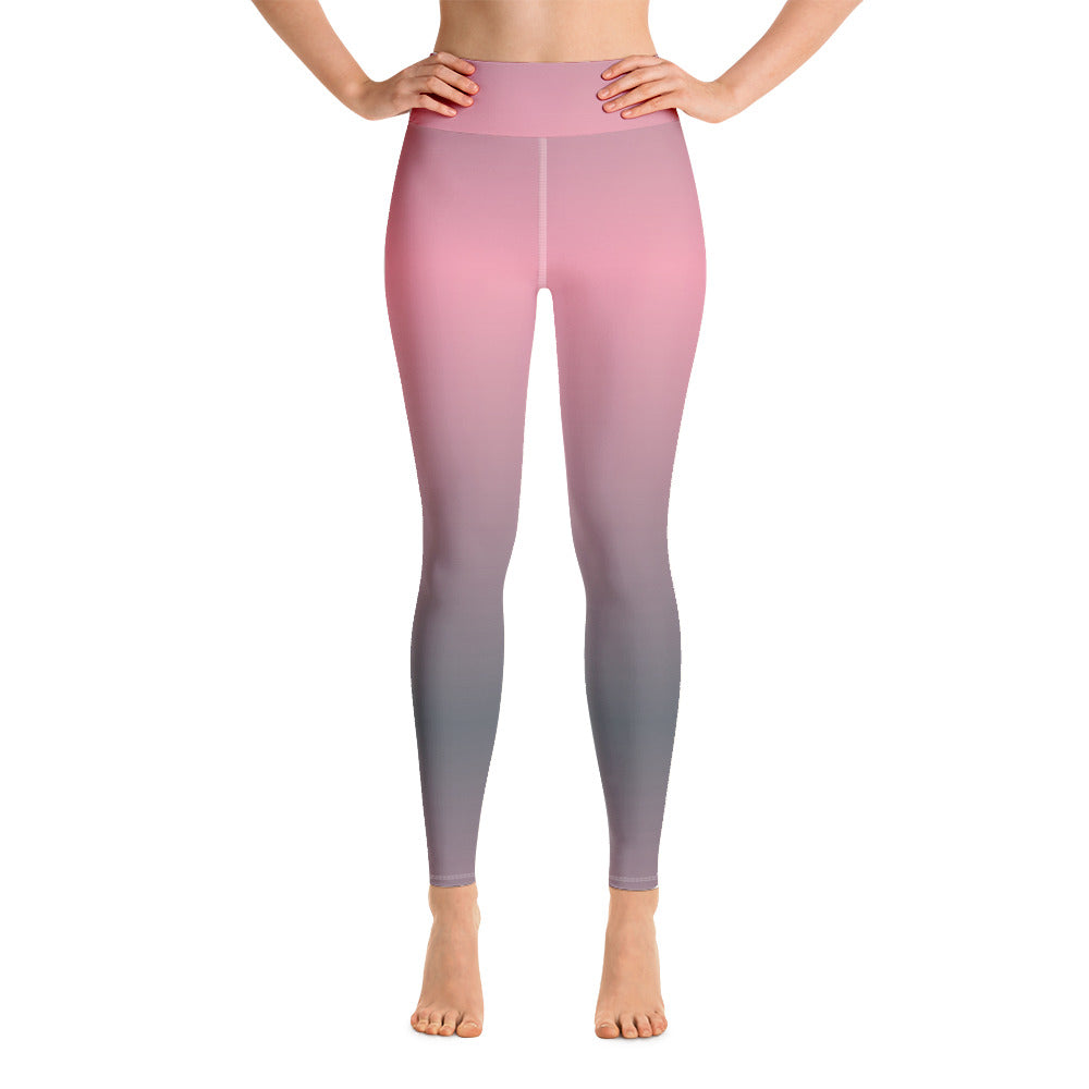 Pink Gray Shaded Yoga Leggings
