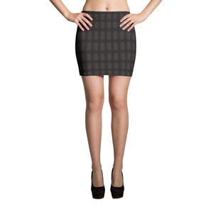 Black Denim Print Mini Skirt