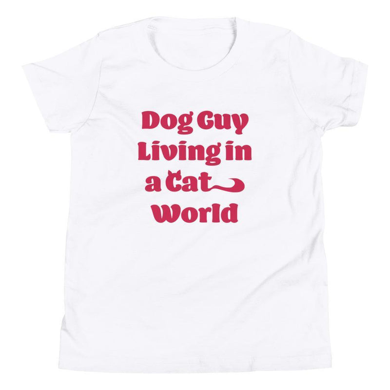 Dog Guy Living in a Cat World (Red) Youth Tee-Fell Casuals