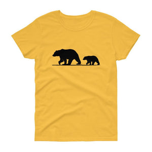 Mama Bear with Cub Tee (Black)-Fell Casuals