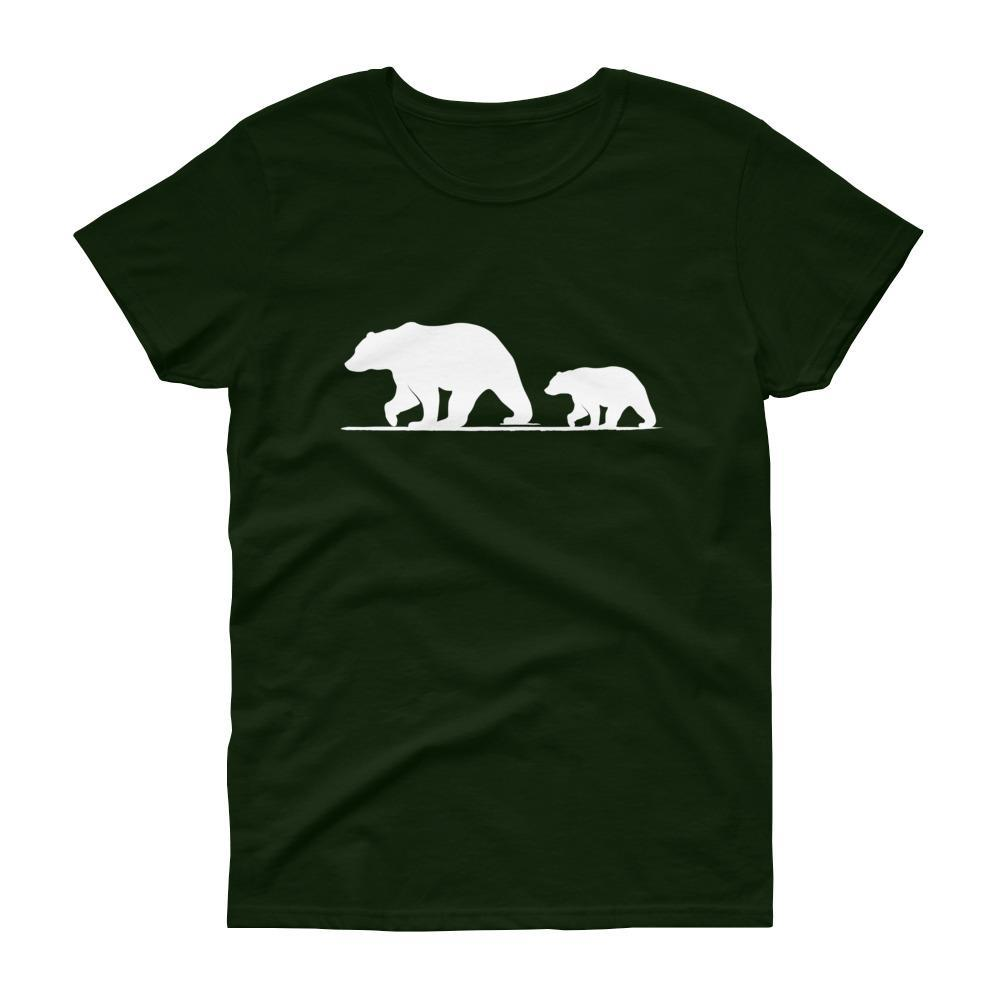 Mama Bear with Cub Tee (White)-Fell Casuals