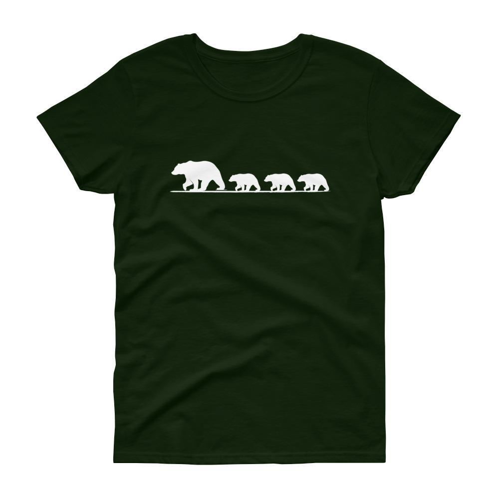 Mama Bear with Three Cubs Tee (White)-Fell Casuals