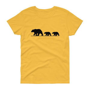 Mama Bear with Two Cubs Tee (Black)-Fell Casuals