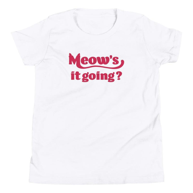 Meow's It Going? (Red) Youth Tee-Fell Casuals