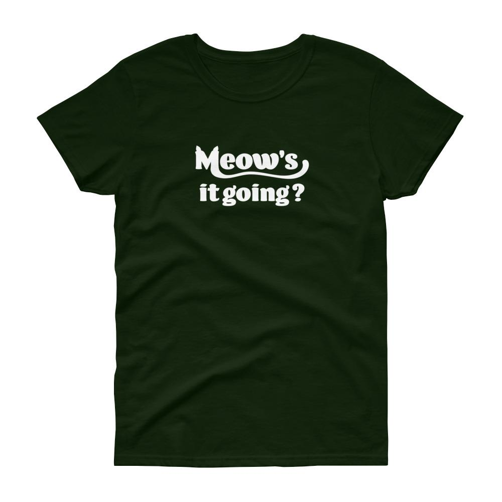 Meow's It Going? (White) Women's Tee-Fell Casuals