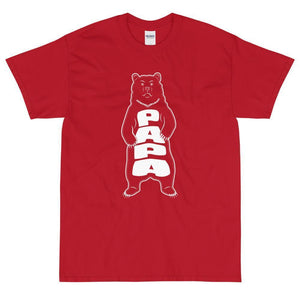 Papa Bear (White) T-Shirt-Cherry Red-Fell Casuals