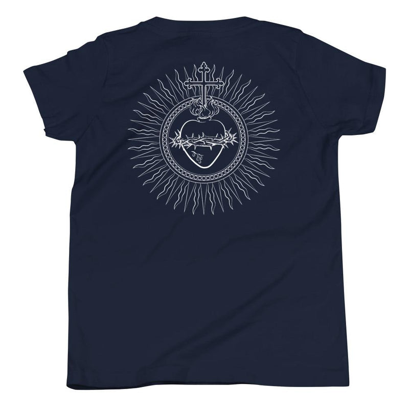 Sacred Heart Youth T-Shirt (White)-Fell Casuals