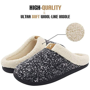 Men Winter Warm Non-slip Knitted Cotton Plush Slippers