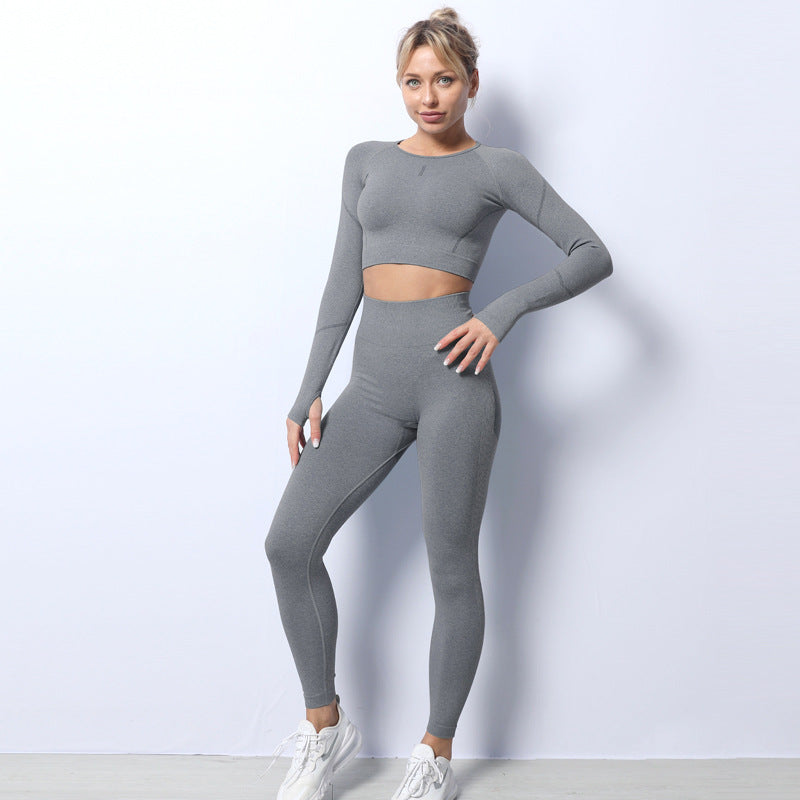 Seamless Breathable Yoga Set Fitness Sports Set ( 2 Piece )