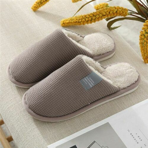 Simple Solid Non-slip Indoor Bedroom Warm Plush Slippers for Women