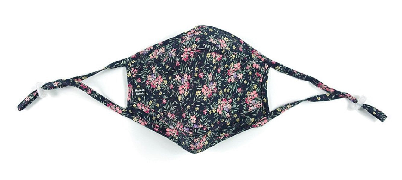 Cotton, 3-D, Pink Floral on Black - MasKeith