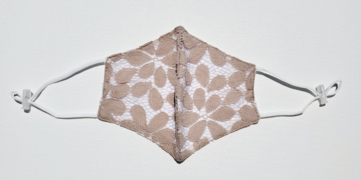 Linen, Lace Caramel Floral on the White - MasKeith