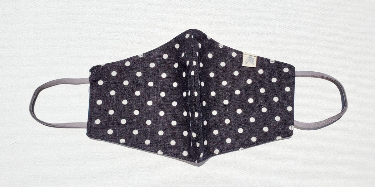 Linen, Polka Dots on Soft Black - MasKeith