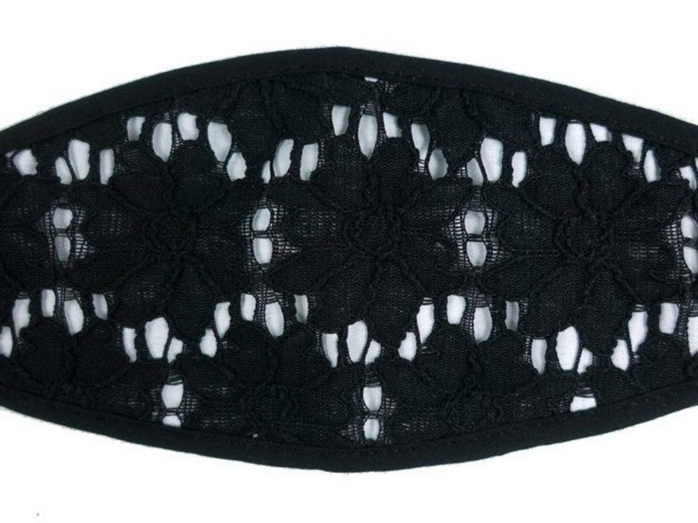 3-D, Black Floral Lace on White - MasKeith