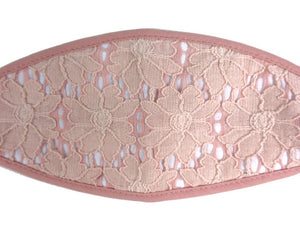 3-D, Pink Floral Lace on White - MasKeith