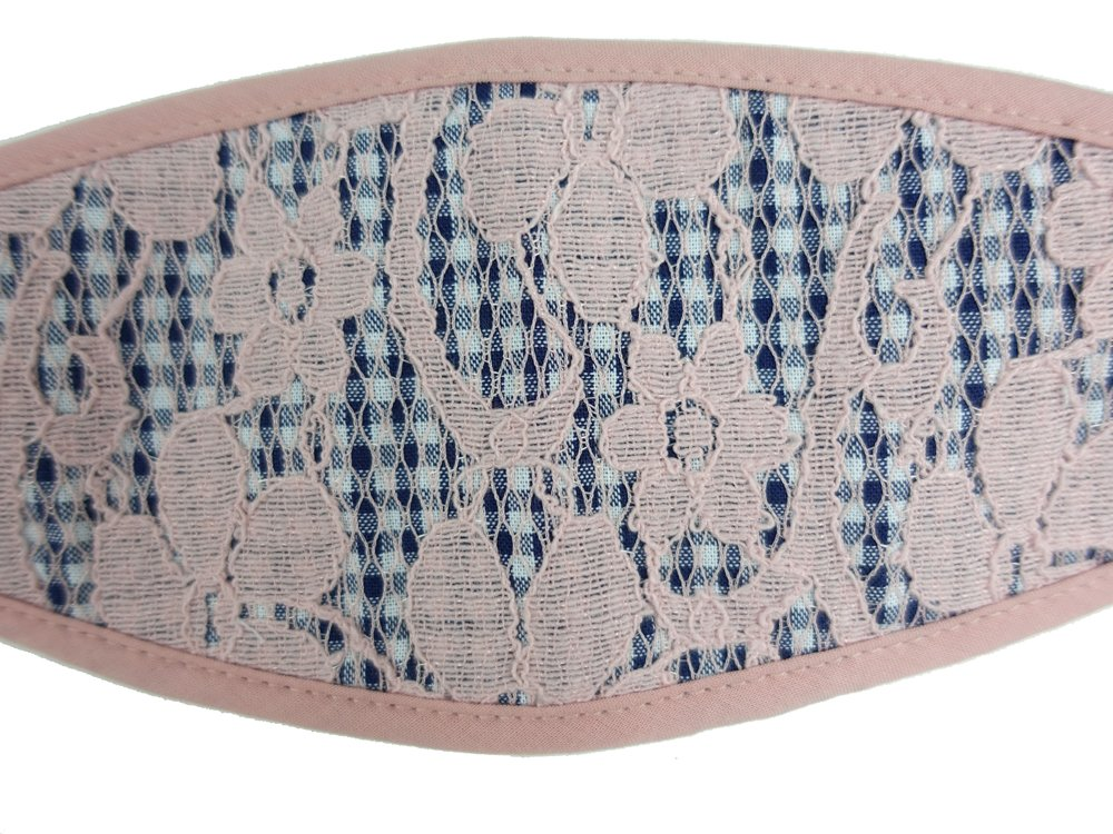 3-D, Pink Floral Lace on Checker - MasKeith