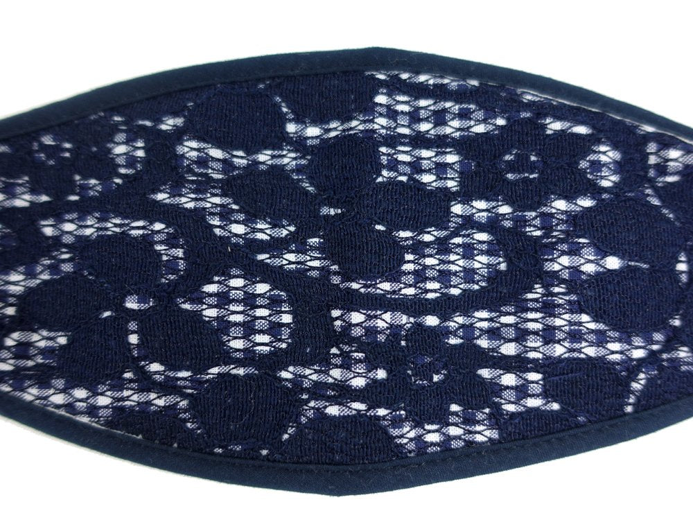 3-D, Navy Blue Floral Lace on Checker - MasKeith