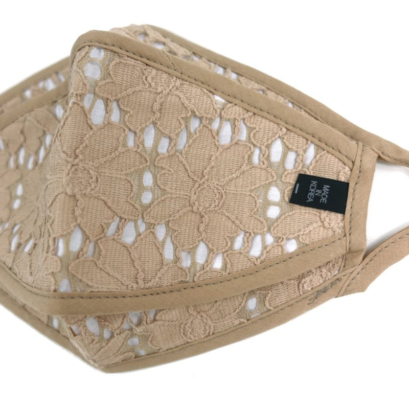 3-D, Beige Floral Lace on White - MasKeith