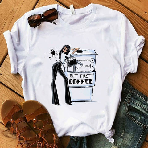 Coffee T Shirt Fashion Lady Cute T-Shirt - Xshirt Your Motivation