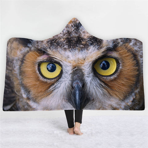Big Eyes Owl Pattern Double-sided Hoodie Blanket - Xshirt Your Motivation
