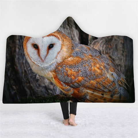 Black Yellow Owl Pattern Double-sided Hoodie Blanket - Xshirt Your Motivation