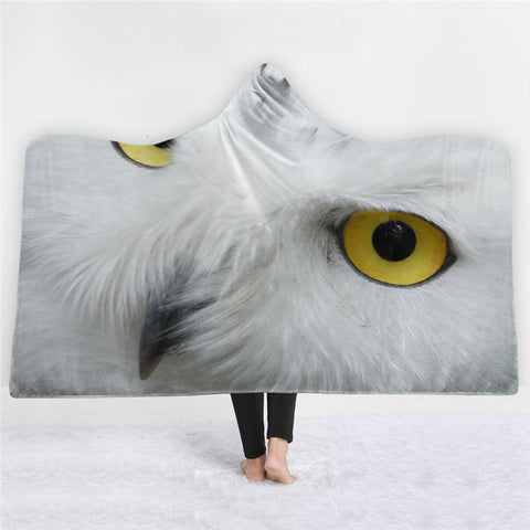 White Owl Pattern Double-sided Hoodie Blanket