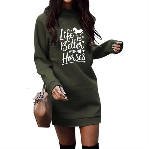 Life Is Better With Horses Long Sleeve Hoodies For Women