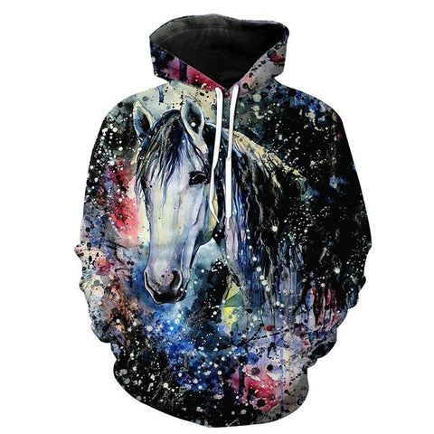 Horse 3D print Hoodies Funny Cool Sweatshirts Quality Pullover Streetwear Cool Out Coat - Xshirt Your Motivation