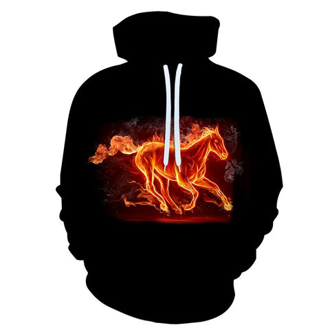 2020 Sweatshirt Men / Women 3d Hoodies Print Flame Horse Slim Unisex Hooded Hoodies - Xshirt Your Motivation