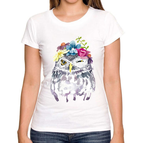 Watercolor Floral Owl Design Shirt