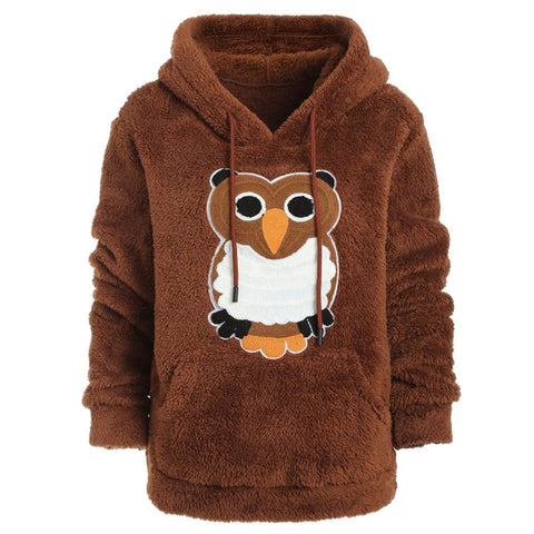 Women Hoodie Winter Long Sleeve Owl