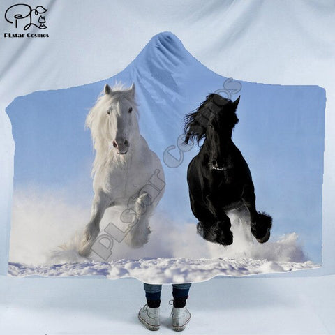 Black and White Horses Hooded Blanket