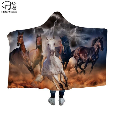 5 Colorful Horses Hooded Blanket