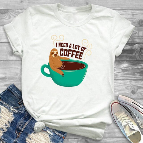 Sloth Need Lots of Coffee Funny Quote Shirt